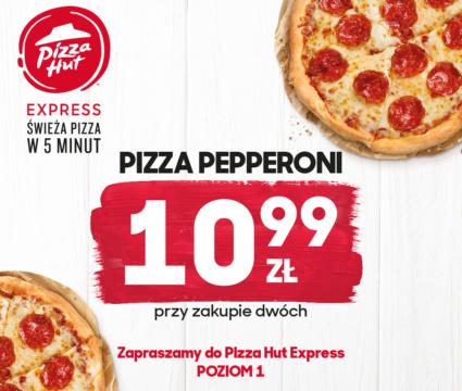 Pizza Hut Express zaprasza na niesamowite oferty 🙂 Przy zakupie dwóch pizz pepperoni, jedna z nich za jedyne 10,99 🙂 Zapraszamy do Restauracji Pizza Hut Express na poziomie 1. Mamy do dyspozycji niesamowite oferty! 🙂